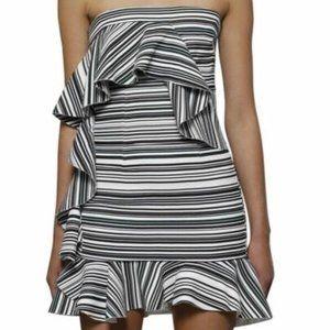 By Johnny Briath Stripe Frill Mini Dress